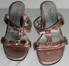 TARYN ROSE Shoes 37 7 Metallic Pink Sandals HapaChico Haute Vintage Couture