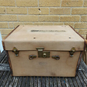 Vintage Canvas and Leather Edging Travel Trunk Case Box Storage Chest