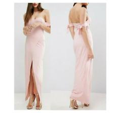 ASOS Womens Dress Pink 10 Petite  Bow Off Shoulder Maxi Wrap Skirt Slit NEW
