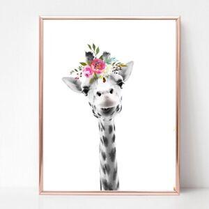 giraffe print PICTURE flower garland WALL ART A4  unframed 22 pink