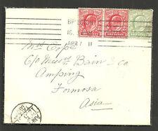 1/2D GREEN + 1D RED EDWARD VII X2 BRIGHTON 1911 TO FORMOSA ASIA VIA HONG KONG