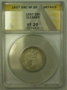 1857 Seated Liberty Quarter ANACS VF-20 Details Cleaned (24)