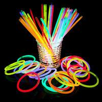 """100Pcs 8"""" Premium Glow Sticks Bracelet Necklaces  Multi-Colors Neon Party Lights"""