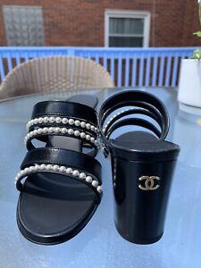 NIB CHANEL PEARL Straps Mules Sandals Heel Pump Black Size 38.5  $975 20P