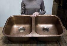 Double Bowl Kitchen Sink 32 Inch Copper Handmade Undermount Antique Wash Basin
