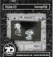 Loungefly X Peanuts 70th Anniversary  LE 500 Enamel Pin in box in hand.