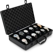 Watch Case Aluminum for 12 Watches Collectors Briefcase Black with Handle