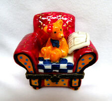 Limoges Style Hinged Top Porcelain Trinket Box ~ Teddy Bear in a Chair
