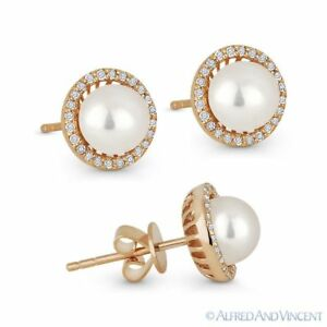 Freshwater Pearl and 0.16ct Round Diamond Stud Earrings 14k Rose Gold Halo Studs
