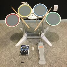 Nintendo Wii Wired Rock Band Drum Set Controller -Pedal -Drum Sticks Game TESTED