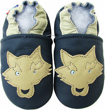 carozoo soft sole leather baby shoes wolf navy blue 18-24m