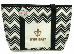 New Orleans Saints Who Dat Tote Cooler Black And White Chevron Print NWT Flawed