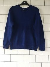 MENS RALPH LAUREN VINTAGE RETRO CHUNKY KNIT BLUE JUMPER PULLOVER UK SMALL