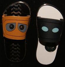 Disney 2015 WALL-E & EVE Sandals Flip Flops 2 Pin Set NEW ON ORIGINAL CARD