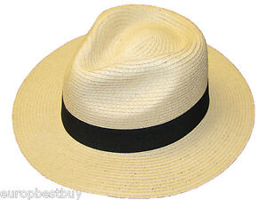 Mens Ladies Paper Straw Fedora Panama Style Sun Hat Crushable Summer Hat 3 Sizes