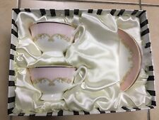 Tea Set With Pink Striped Pattern. 2 Cups And 2 Saucers. Fine Bone China.