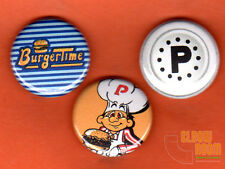 "Set of three 1"" Burgertime pins buttons arcade Bally Midway pepper video game"