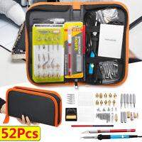 52pcs 60W Electric DIY Wood Burning Pen Soldering Iron Tool Craft Pyrography Kit