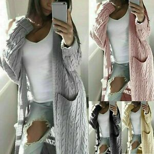 Plus Size Womens Chunky Knit Sweater Open Front Pocket Coat Long Cardigan Jacket