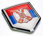 Serbia Flag Serbian Emblem Chrome Car Decal Sticker