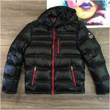 XQS Men Down Jacket Winter Warm Knee-Length Hoodie Parka Outwear