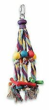 Happy Pet Colourful Octopus Interactive Chew Rope & Wood Parrot Toy 4 Bird Cage