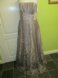 BNWT UK SIZE 10 YOUNG LADIES BEAUTIFUL MINK GLITTERY PROM DRESS BY NV COUTURE