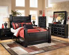 Modern Design Black Finish 5 pieces Bedroom Set w/ King Poster Storage Bed IA0J