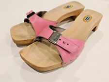 Dr. Scholl's Special Size 7 Pink Wooden Leather Sandal Clog Silver Hardware