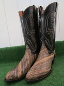 """VINTAGE TONY LAMA 'GOLD LABEL"""" MONITOR LIZARD """"RARE"""" EXOTIC WESTERN BOOTS 11.5 D"""