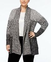 CHARTER CLUB Plus Size Black Heather Knit Open Front Cardigan Duster Sweater  XL