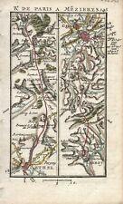 Antique map, Road: Rethel to Charleville. 1774, Guide Royal par L Denis