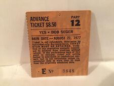 Yes Concert Ticket Stub 8-21-1977 Buffalo NY