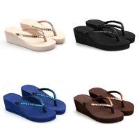 Summer Women Platform Wedge Sandals Rhinestone Thong Flip Flops Casual Slipper