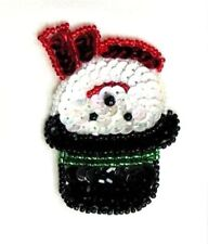 Snowman Sequin Applique Christmas Decoration Beaded Iron On diy Stocking XR385