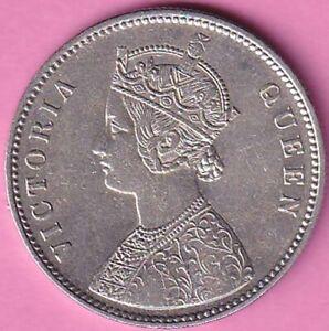 1862 British India Victoria Queen A-1, 0/0 Dots rupee silver coin