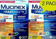 2 Pack Mucinex Fast-Max Day & Night Severe Cold and Flu 48 Liquid Gels! 04/17