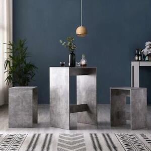 Modern Vintage Breakfast Bar Dinning Table & Stools Set Grey Concrete Effect