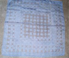 "Vintage light blue & white geometric print vintage square scarf 26"" Japan"