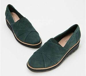 Clarks Collection Suede Slip On Loafer Sharon Dasher Emerald Green US 8 NIB