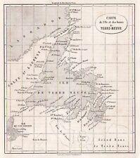 CARTE MAP TERRE NEUVE NEW FOUNDLAND / GRAVURE ENGRAVING 1863