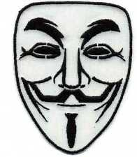 Toppa ricamata patch termoadesiva maschera GUY FAWKES logo ANONYMOUS cm. 9 x 7