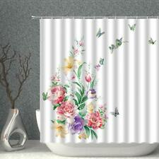 Whimsical Butterfly Flower Floral Farmhouse Rustic Fabric Shower Curtain + Hooks