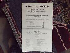 1964 GOLF SCORECARD PROGRAMME - PGA MATCH PLAY CHAMPIONSHIP - WALTON HEATH