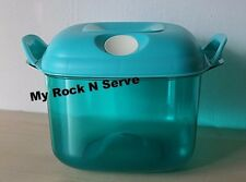 Tupperware Square Heat N Serve Microwave Container 8 cup/ 2 L Aqua NEW !!!