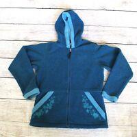 Patagonia Synchilla Women's Size Large Teal Full Zip Hooded Polar Fleece Jacket