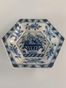 """Antique Royal Tichelaar Makkum  Pottery Plate #1002  Holland  6 3/4"""" hexagonal"""