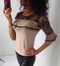 NEW Italy RINASCIMENTO Casual Elegant Evening Lace top 3/4 sleeves Fitted M