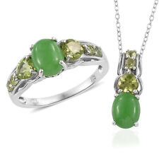 Burmese Green Jade, Hebei Peridot Platinum Over Sterling Silver Ring Size 8