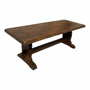 1900s French Solid Oak Monastery Trestle Dining Table or Farm Table